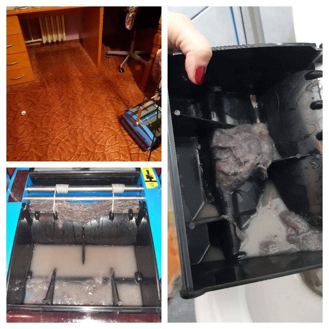 Szőnyegpadló tisztítás csapvízzel Rotowash padlótisztító géppel és amit összeszedett a gép